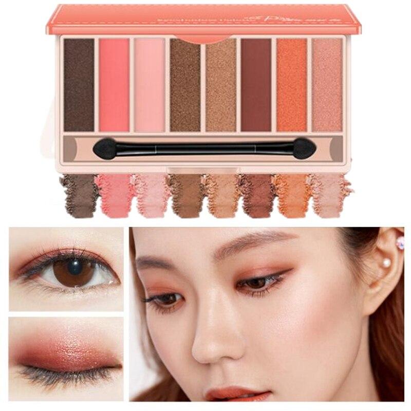 Paleta de brillos de marca Natural mate y Perla luminosa sombra de ojos de larga duración brillo cosméticos brillantes 8 colores en una caja caliente