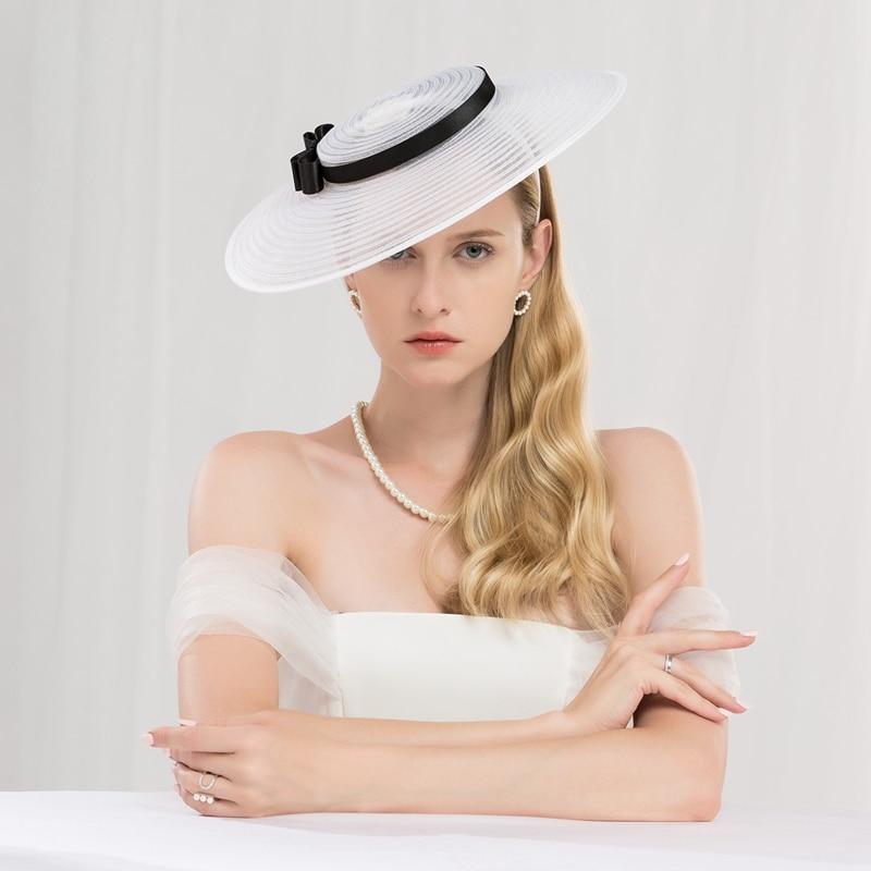 Tocado para mujer, sombrero blanco negro, elegante, gran ala ancha, sombreros de Iglesia Derbi Kentucky, lazo para mujer, vestido de boda, sombreros