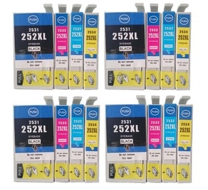 16 Pack Compatible Ink Cartridge for Epson T252 T252XL Printer for Epson WF-3620 WF-3640 WF-7110 WF-7610 WF-7620 Printer