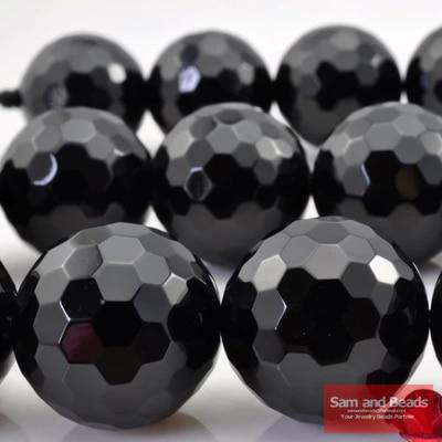 120 unids/lote 10 MM cuentas de piedra de ónix negro facetado para hacer joyas OAB04 envío gratis