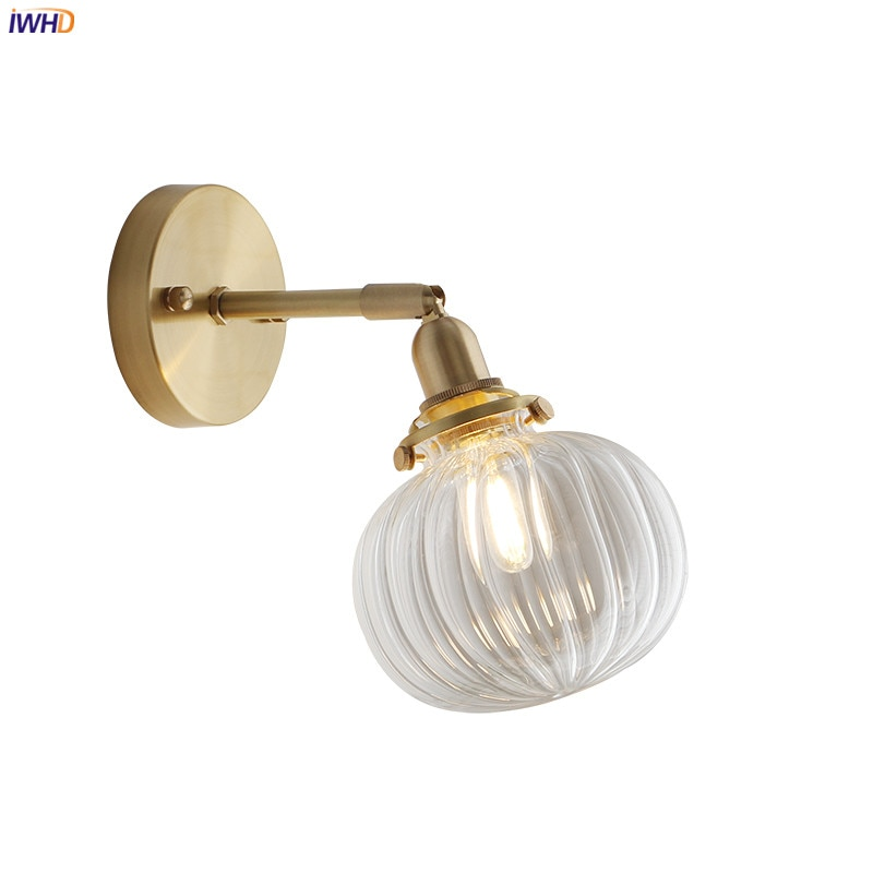 IWHD Nordic Glas Bal Wandlamp Badkamer Spiegel Slaapkamer Naast Koperen Moderne Wandlamp Blaker LED Wandlamp Home Verlichting