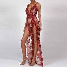 BKLD robe à Paillettes Spaghetti sangle col en V Sexy haute fendue longue Maxi robe de fête femmes Paillettes Paillettes robe Vestidos Feminino