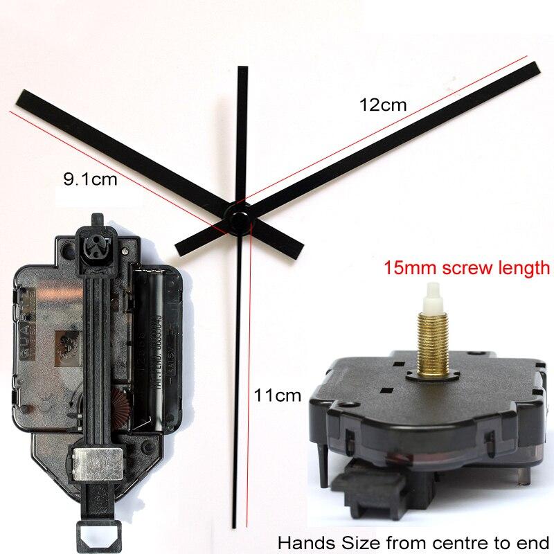 15mm longitud de tornillo 12888 movimiento tipo péndulo con manos negras 1 # paso reloj accesorio cuarzo DIY Kits de movimiento