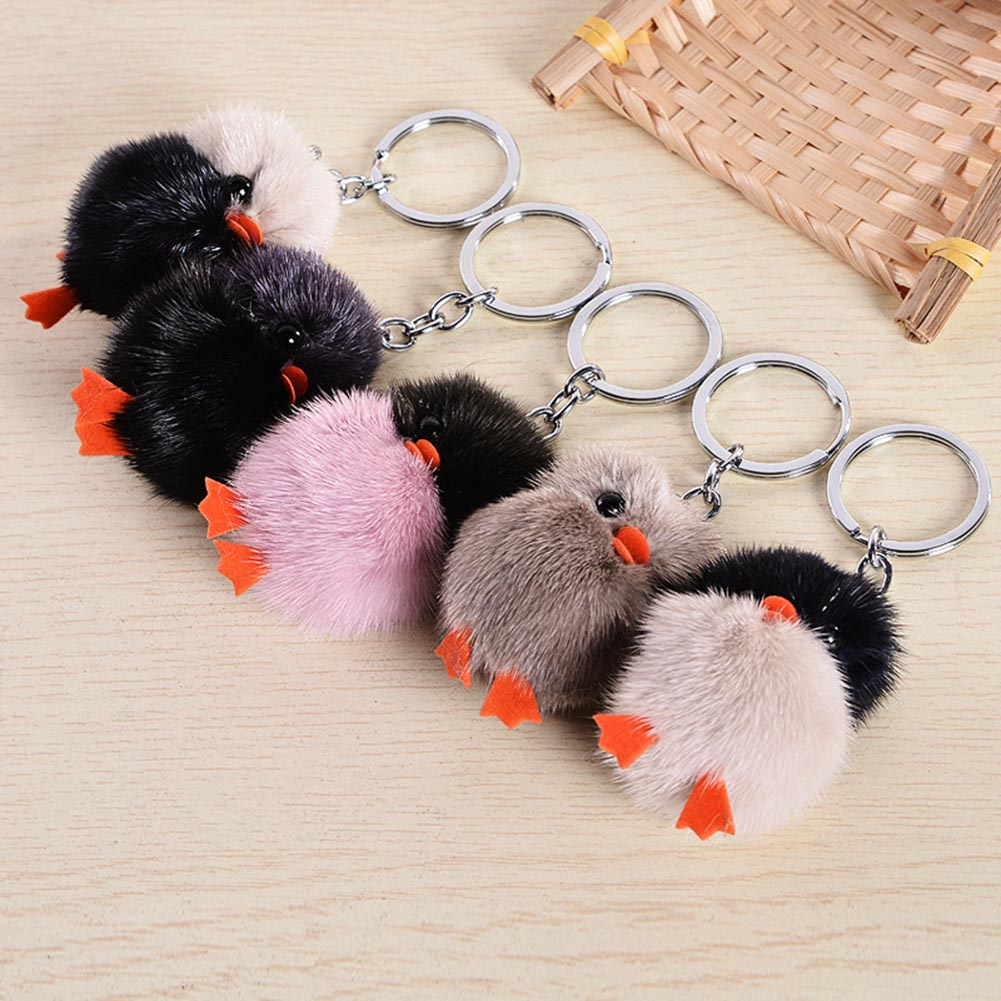 5cm Mini Chick animales suaves peluche juguetes llavero lindo pelo de visón figura de color al azar