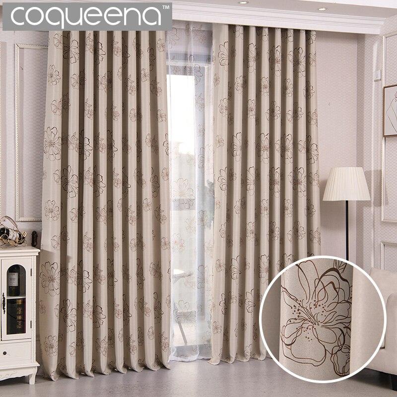Elegante cortinas para sala de estar Puerta del dormitorio cortinas paneles ventana Panel cortinas tratamientos de ventana Beige crema Floral DISEÑO 1 Uds