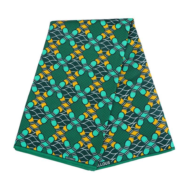 Tela de poliéster verde de calidad nigeriana Chitenge Ankara tela de cera de Ghana Kente tela de impresión de Kitenge africano para tela de 6 yardas
