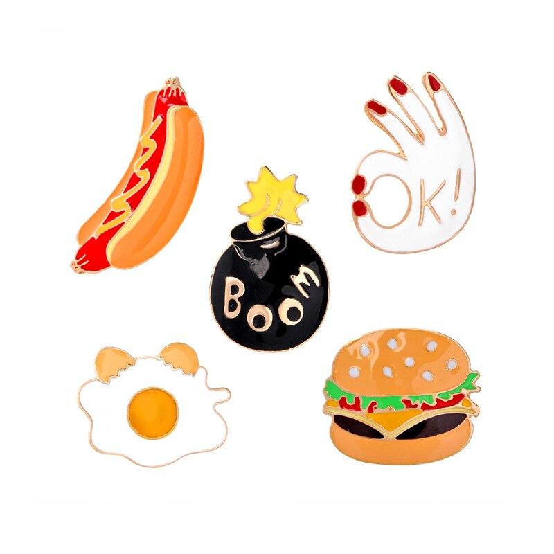 Poached Egg OK BOOM Burger Hot Dog Brooch Jewelry Cartoon Food Brooch Pin Denim Pin Buckle Lady Sweet Shirt Badge Brooch Jewelry