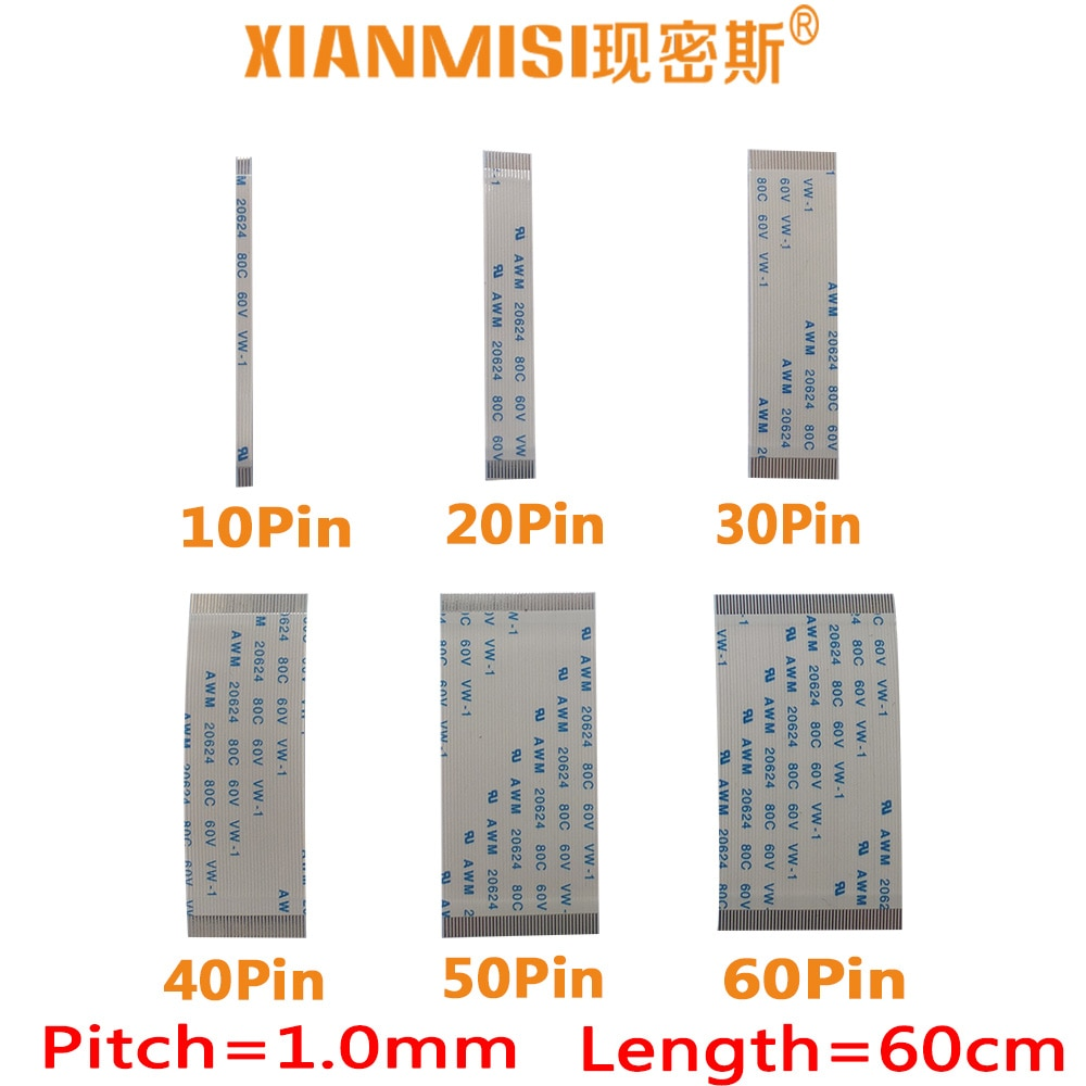 FFC/FPC plana cable de extensión flexible 10Pin 20Pin 30Pin 40Pin mismo lado 1,0mm AWM VW-1 20624 20798 60V Longitud 60cm 5 uds