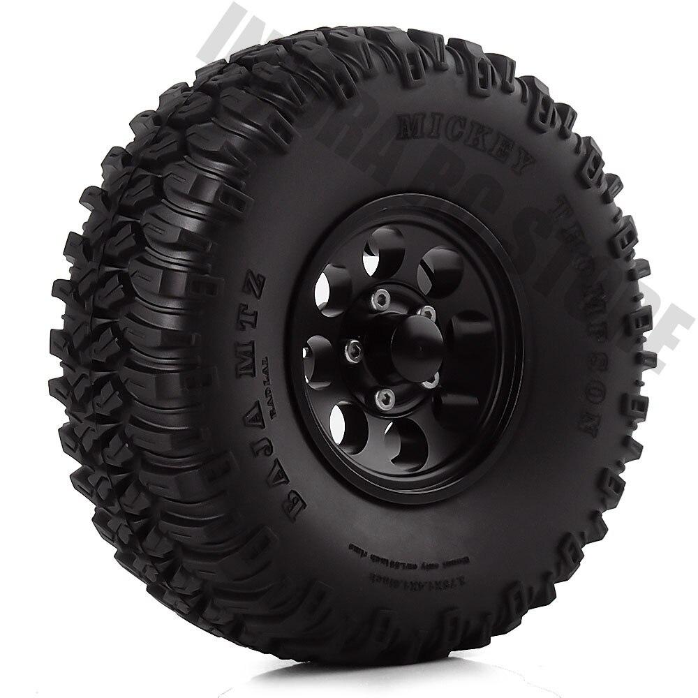 """Neumáticos de 1,55 pulgadas para coche RC, rueda de aleación de aluminio, llanta con abalorios de 1,55 """"y neumáticos de goma para 1/10 RC Crawler D90 TF2 MST JIMNY 4 Uds."""