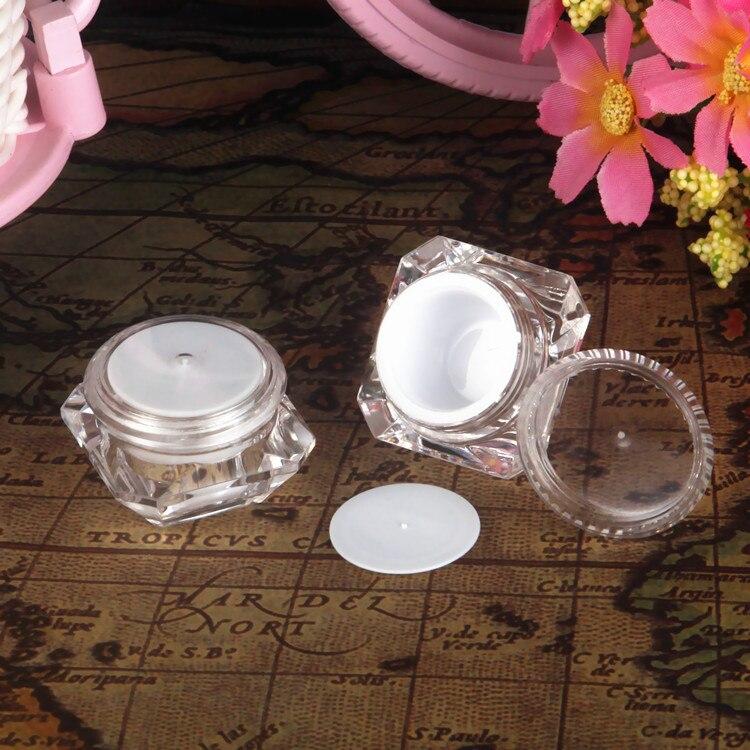 100 Uds./lote tarro cosmético de plástico transparente de 5g, contenedor de loción vacío, caja de Eyecream de tarro rellenable, forma de diamante Acrílico