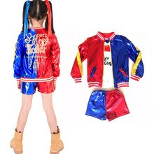 Детский костюм для девочек-самоубийц, куртка Харли Куинн, шорты, комплект с топом, костюм для костюмированной вечеринки на Хэллоуин