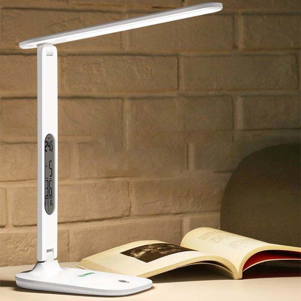 Lámpara de escritorio LED plegable lámpara de mesa táctil regulable con calendario temperatura despertador Luz de mesa luces de noche
