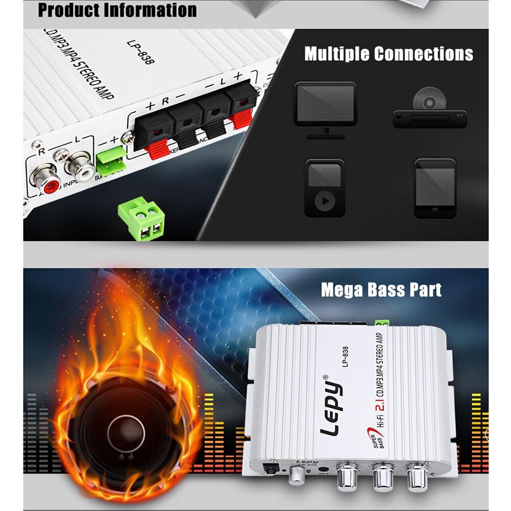 Amplificador estéreo 2,1 de alta fidelidad ATS para LVPIN Car Supergraves para AMP PC Car Home Player, canales de Radio para coche, Supergraves para 2 casas