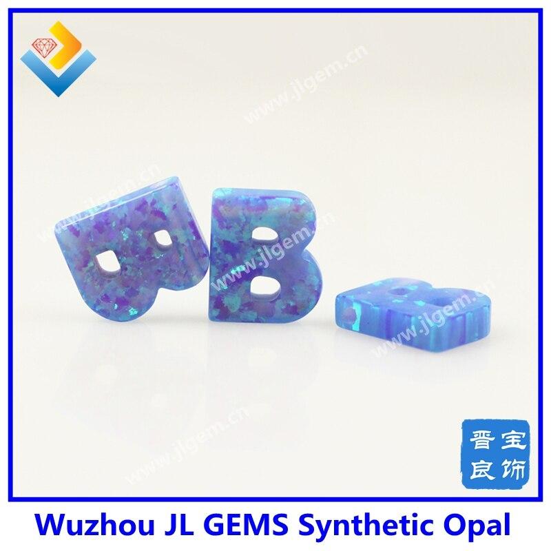(20 unids/lote) Envío Gratis recién llegado 9*10mm luz azul OP06 ópalo B letras gemas colgante de alta calidad
