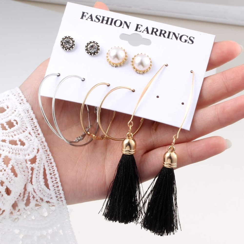 Nuevo diseño de pendientes largos de borla para mujer niña 2019, pendientes bohemios de flores con forma de corazón, joyería femenina a la moda