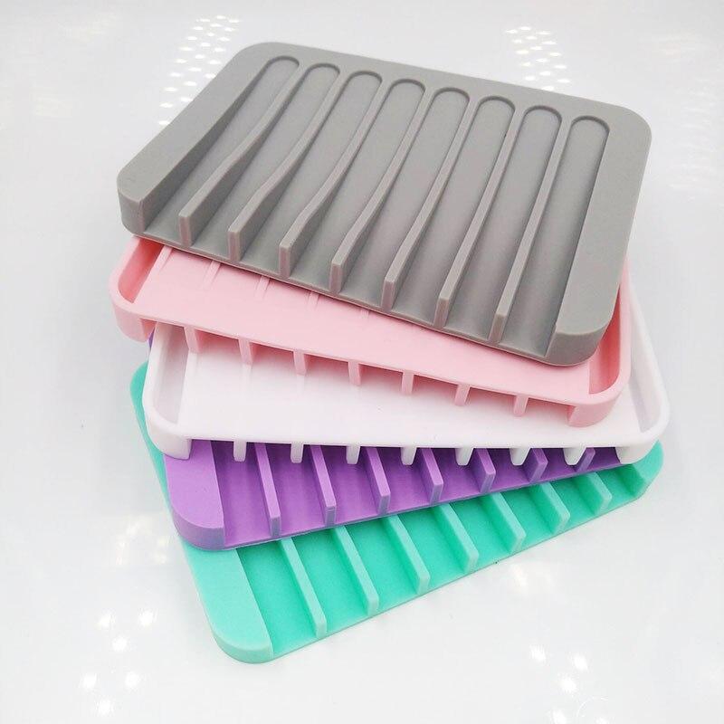 Soporte Flexible de silicona para jabón, soporte de plato de jabón, bandeja de jabón, contenedor de almacenamiento para baño, cocina