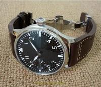 44mm GEERVO black dial Asian 6497 17 jewels Mechanical Hand Wind movement men's watch green luminous butterfly buckle 100