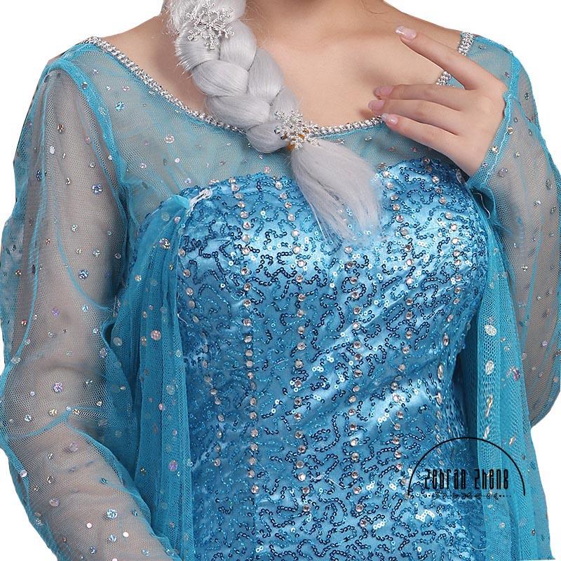 فستان ملكة إلسا للبالغين ، زي إلسا لحفلات الهالوين ، مجموعة جديدة