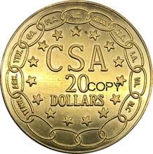 Verenigde Staten 1861 Verbonden Staten van Amerika CSA $20 Dollar Messing Metalen Gouden Munt Kopie Munten Edeg Vlakte