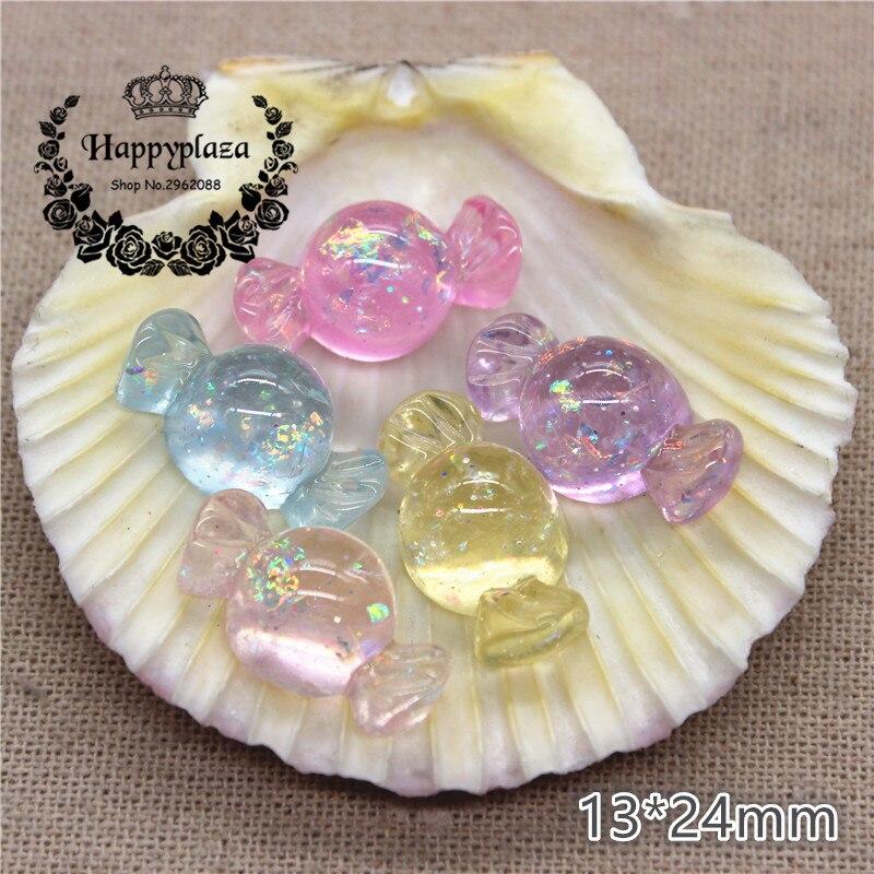 10pcs Resin Flatback Cabochon Glitter Clear Sweet Candy Simulation Food Art Supply Decoration Charm Craft,13*24mm