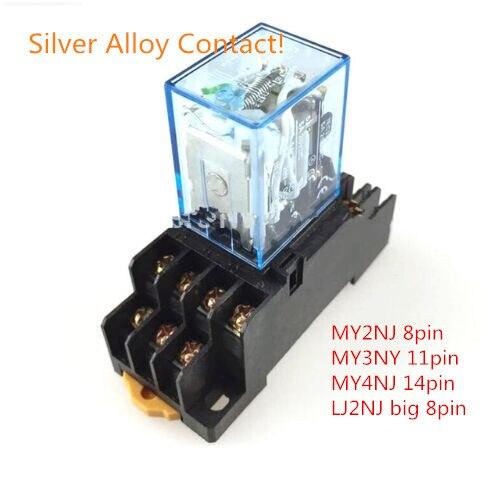 MY4N-J LY2NJ MY2N-J MY3N-J Silver Alloy Point! Power Relay Coil with socket,with LED, 14 Pin 12V 24V 220V