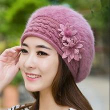 2017 new brand winter Christmas warm hats caps for women Beret rabbit hair casual caps fashion All-match Berets Stewardess hats