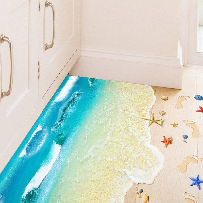 Pegatinas de pared 3D creativas con huella de estrella de mar para...