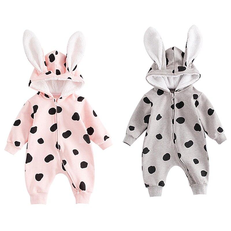 Veste à capuche pour bébé garçon fille   Design doreille à pois décontracté, barboteuse pour bébé manches longues, Costumes