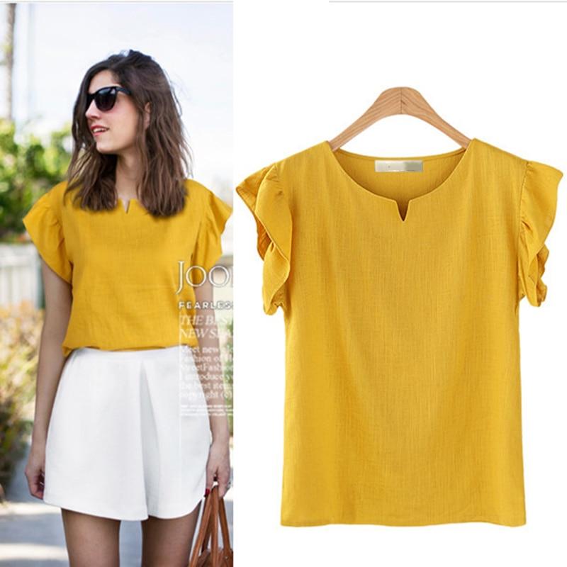Nueva camiseta de verano a la moda para mujer, camiseta de lino 3XL 4XL 5XL, Camiseta básica lisa para mujer, Camiseta de algodón Sexy de gran tamaño, camiseta Top