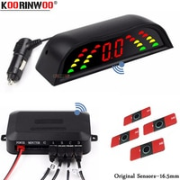 Koorinwoo Original Flat 16.5mm Probes Wireless LED Screen Parktronic Parking Sensor With 4 Sensors BIBI Speaker Blind Gold/Red