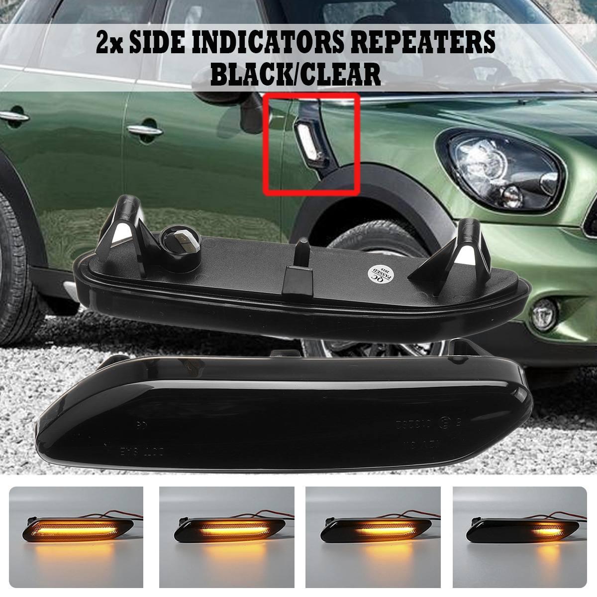 1 par fluye lado marcador luz dinámica lado repetidor lámpara de señal de vuelta de luz llevó la lámpara del Panel para BMW Mini cooper R60 R61