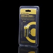 Livraison gratuite Nitecore NL166 16340 RCR123A 3.7 V 2.4Wh 650 mAh batterie Rechargeable au Lithium livraison gratuite