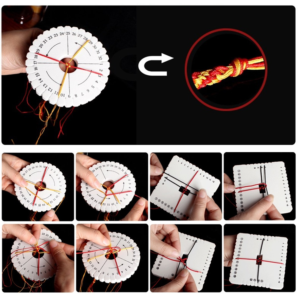 2 шт., Круглый квадратный Плетеный диск, шнур в макраме, плетеный браслет ручной работы, дисковая пластина, тканевый станок, швейные инструме...