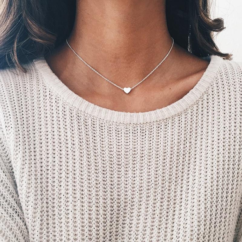 New Tiny Heart Necklace for Women SHORT Chain Shape Pendant Gift Ethnic Bohemian Choker drop shipping