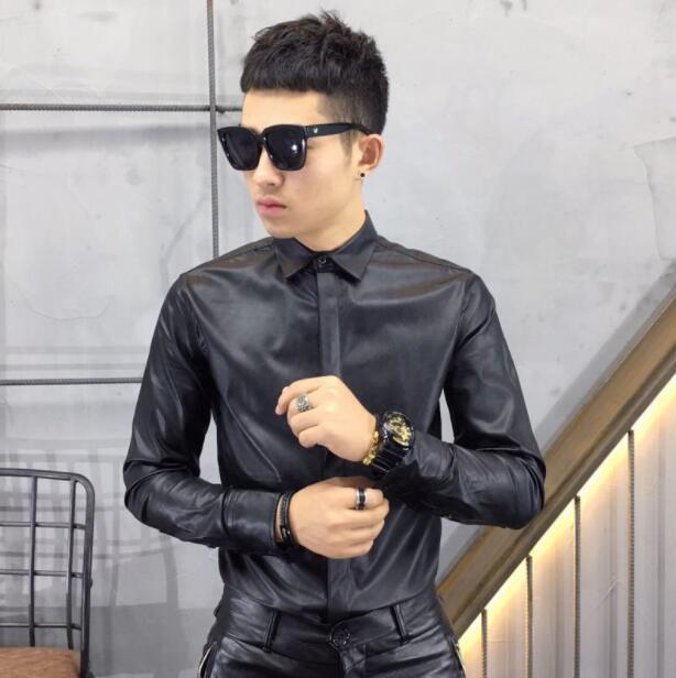Hot 2020 New spring New imitation sheepskin washed leather long-sleeved shirt men trend Korean Slim leather shirt dark blue