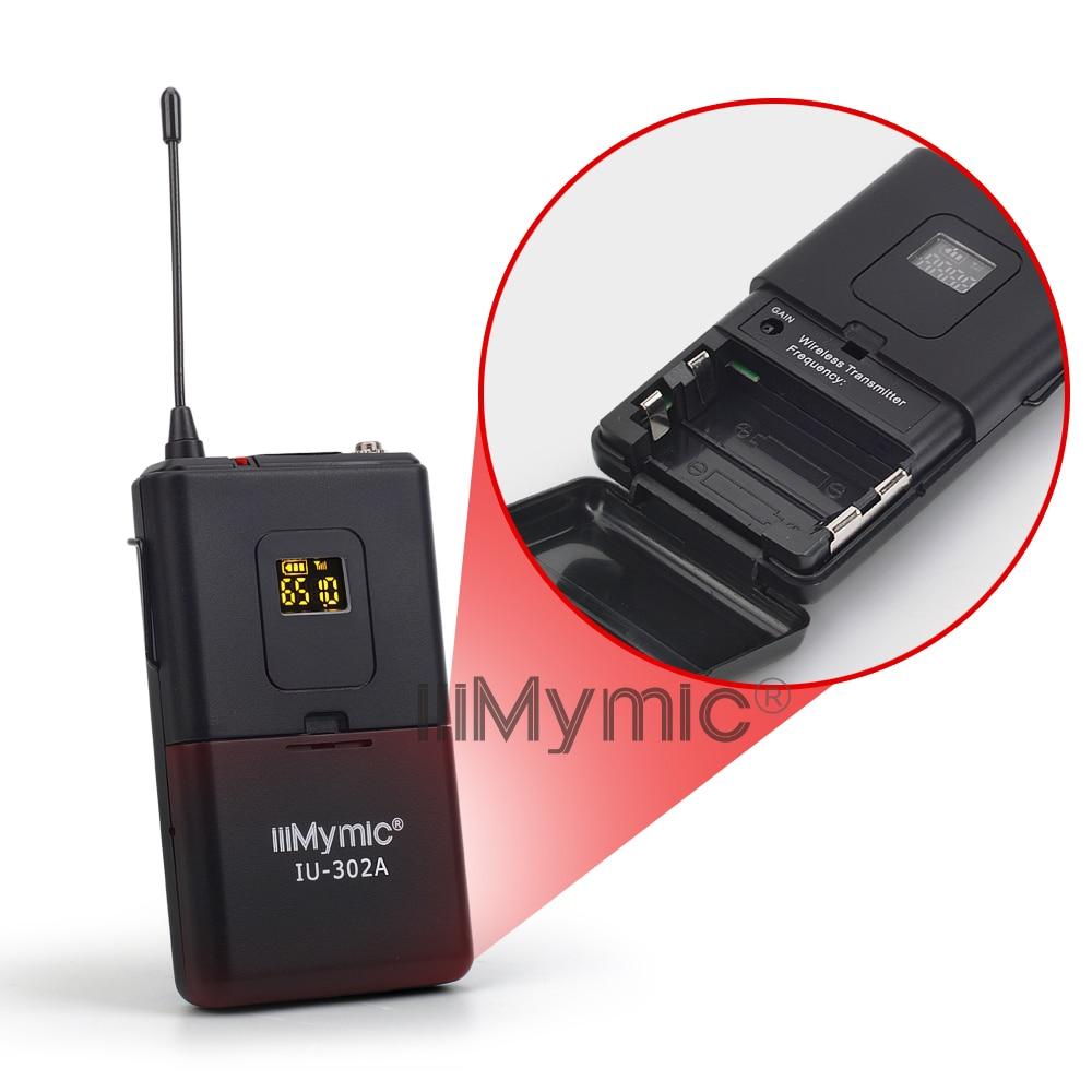 iiiMymic IU-302A UHF 600-700MHz Pro Dual Channel Wireless Microphone 2 Bodypack+2 Lapel&2 Headset Mic System for DJ Karaoke enlarge