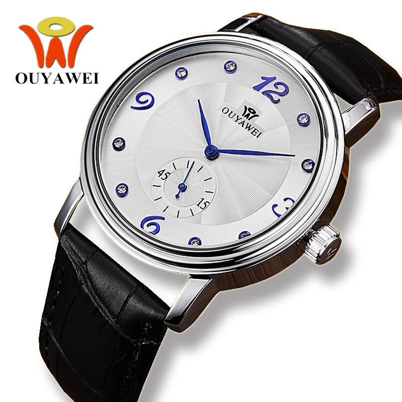 Ouywei relojes de hombre de cuero negro genuino mecánico automático de negocios, caja de plata de 40 MM, reloj transparente de mano azul