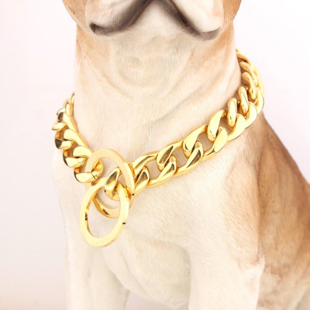 """10 """"-40"""" para elegir de alto pulido 15mm oro Acero inoxidable acera cadena de eslabones cubanos perro divertido collar de joyas de mascotas"""