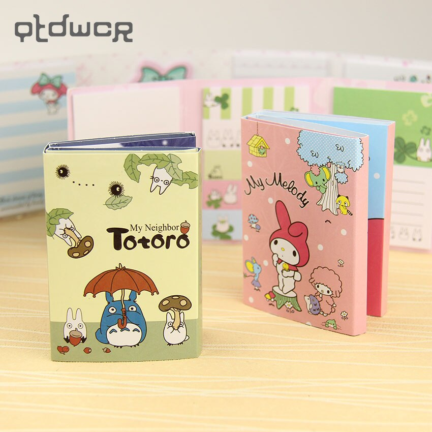 1PC Totoro melodía 6 plegable blocs de notas adhesivas marcador papelería regalo