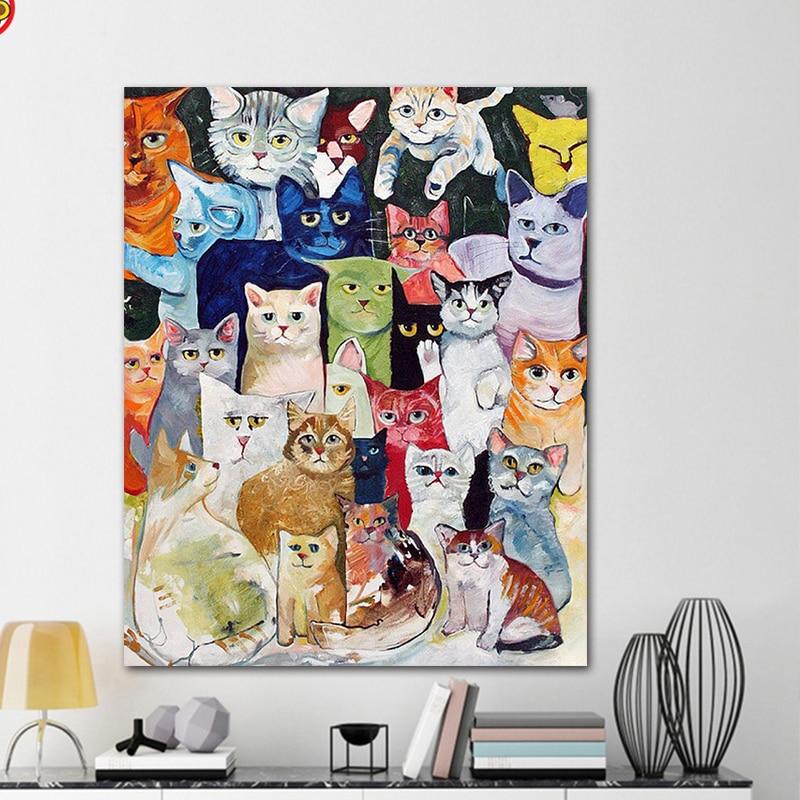 Imágenes de manualidades para colorear por números con colorsA de gato dibujo pintura por números enmarcado casa