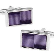 Men Gift Violet Cuff Links Wholesale&retail Purple Color Copper Material Fashion Rectangle Enamel De