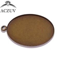 200pcs Antique Bronze 13x18mm 18x25mm 30x40mm Teeth Oval Pendant Tray Bezel Pendant Blank Pendant Base Cabochon Setting OTB007