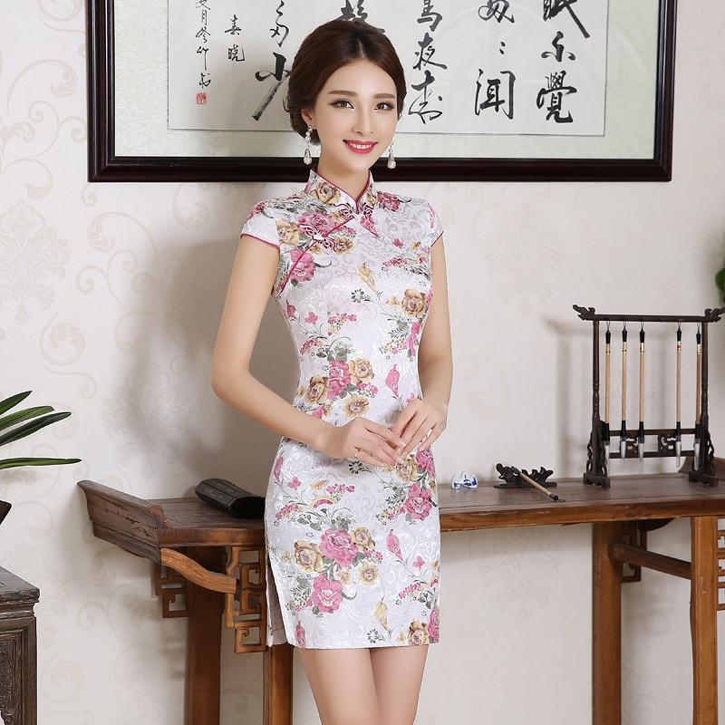 Umarden, ropa tradicional china para mujeres, vestido Cheongsam Qi Pao, bordado de seda, orquídea, peonía, estampado de flores, Mini Cheongsams cortos