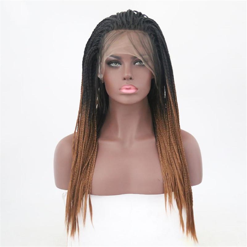 שמחה ויופי 28 inchs שחור חום סינטטי קלוע תחרה קדמי פאות חום סיבים עמידים פרימיום צמת שיער פאות עבור נשים 2 סגנון
