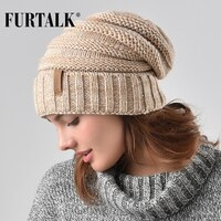 FURTALK Winter Knitted Hat Women Hat Slouchy Beanie for Girls Skullies Cap A047