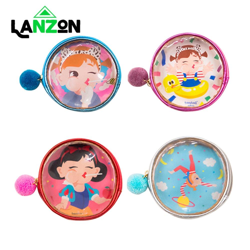 Cute Printed Clear Coin Purse Lovely Girl Cartoon Small Round Wallet Mini Lipstick Earphone Storage Bag Pocket Zipper Money Bags