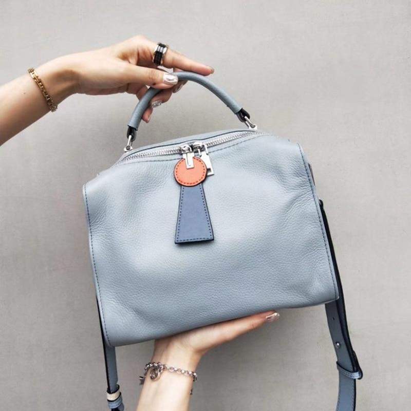 حقيبة يد من الجلد الطبيعي للنساء ، حقيبة كتف على الطراز الأوروبي ، حقيبة حمل للبنات ، 2019