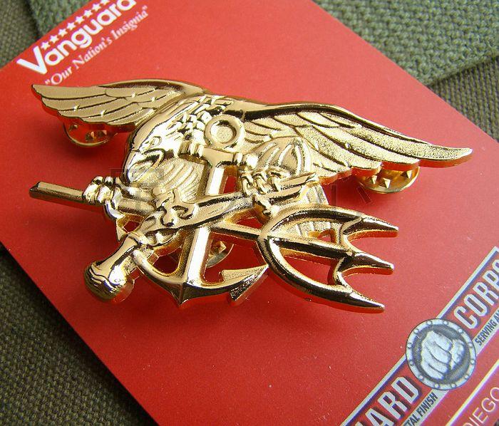 Sello de US NAVY águila ancla TRIDENT placa de METAL INSIGNIA oro a-world tienda militar