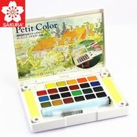 SAKURA 12/18/24/30/36/48/60/72 Colors Petit Watercolor Paint Box Portable Solid Watercolor Painting Art Supplies Pigment Set NCW