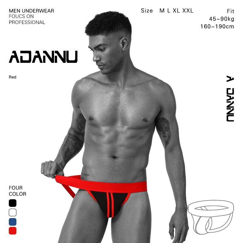 Tangas y tangas de ropa interior para hombre de ADANNU, cinturón ancho, Tanga transpirable, ropa interior deportiva para hombre, suspensorio, ropa interior Gay